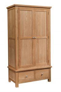 Devonshire Dorset Oak 2 Door Double Wardrobe With 2 Drawers