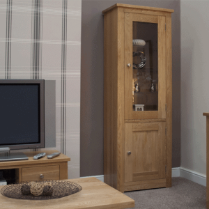 Homestyle Torino Solid Oak 2 Door Glass Bookcase | Fully Assembled