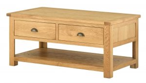 Classic Portland Oak Coffee Table with Drawers