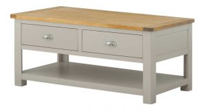 Classic Portland Painted Stone Coffee Table with Drawers