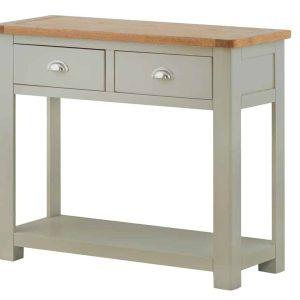 Besp-Oak Vancouver Chalked Oak & Light Grey 1 Drawer Console Hall Table