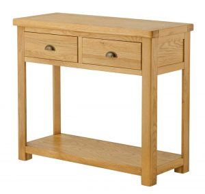 Classic Portland Oak 2 Drawer Console Table | Fully Assembled