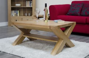Homestyle Trend Solid Oak X Leg 3′ x 2′ Coffee Table