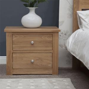 Homestyle Torino Solid Oak 2 Drawer Wide Bedside Cabinet | Fully Assembled