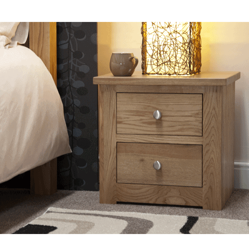 Homestyle Torino Solid Oak 2 Drawer Narrow Bedside Cabinet   Fully Assembled