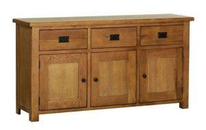 Devonshire Rustic Oak Large Sideboard 3 Drawers & 3 Doors| Fully Assembled
