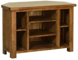 Devonshire Rustic Oak Corner TV Cabinet with Shelves | Fully Assembled