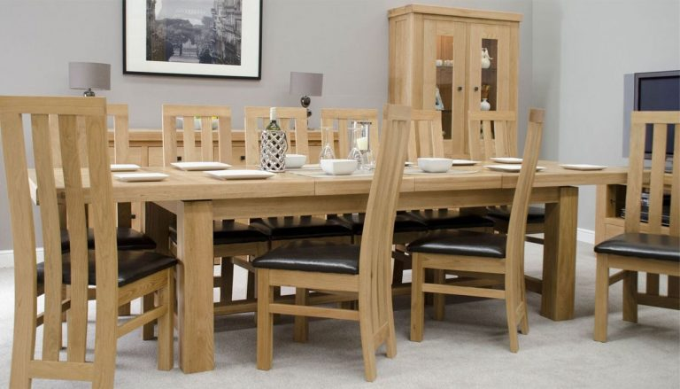 Homestyle Bordeaux Oak Twin Panel Grand Extending Dining Table