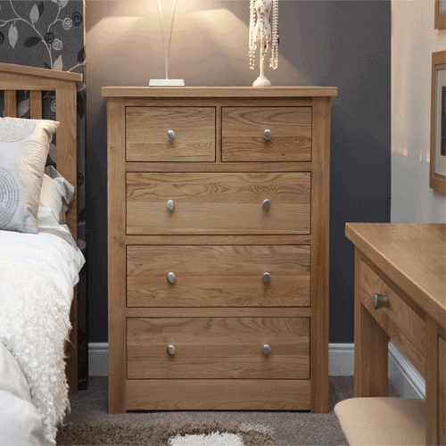 Homestyle Torino Solid Oak 2 Over 3 Drawer Chest | Fully Assembled