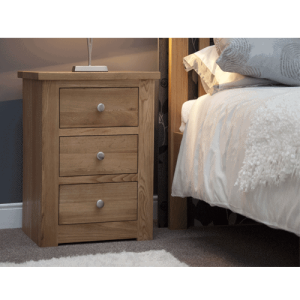 Homestyle Torino Solid Oak 3 Drawer Narrow Bedside Cabinet | Fully Assembled