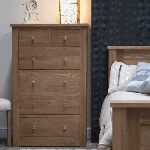 Homestyle Torino Solid Oak 2 Over 4 Drawer Chest Fully Assembled Furniture Plus Online