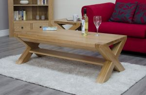 Homestyle Trend Solid Oak X Leg 4′ x 2′ Coffee Table