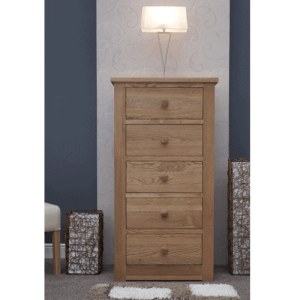Homestyle Torino Solid Oak 5 Drawer Narrow Chest | Fully Assembled