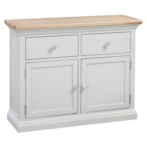 Homestyle Cotswold Grey With Oak Top 2 Drawers & 2 Doors Small Sideboard | Fully Assembled
