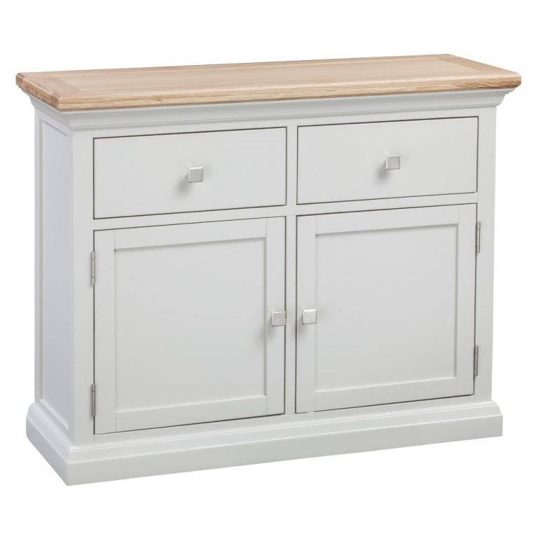 Homestyle Cotswold Grey With Oak Top 2 Drawers & 2 Doors Small Sideboard   Fully Assembled
