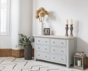 Hampshire Light Grey With Chalked Oak Tops 6 Drawer Chest | Fully Assembled