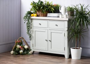 Hampshire Light Grey With Chalked Oak Tops Medium Sideboard 2 Drawer 2 Door | Fully Assembled