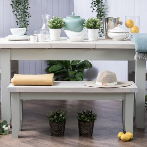 Deluxe Soft Grey With Oak Top 2m X-Leg Extending Dining Table