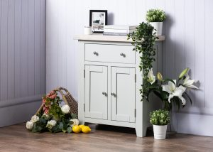 Hampshire Light Grey With Chalked Oak Tops Small Sideboard 2 Door 1 Drawer | Fully Assembled