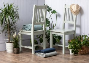 Hampshire Light Grey With Chalked Oak Tops Slatted Back Dining Chair (Pack of 2) | Fully Assembled