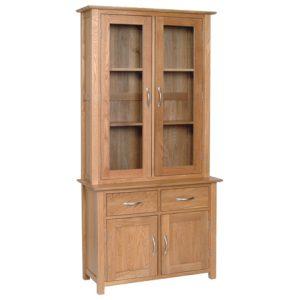 Devonshire New Oak Glass Dresser (Complete Unit)