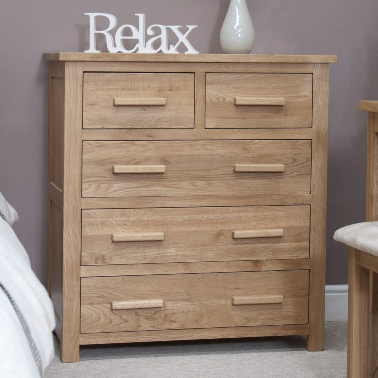 Homestyle Opus Solid Oak  2 Over 3 Drawer Chest   Fully Assembled