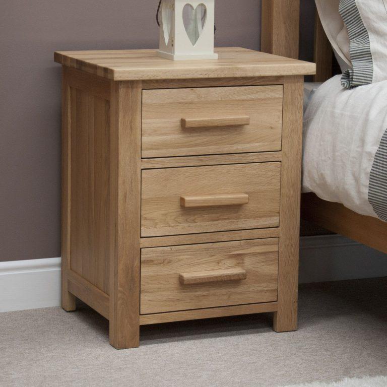 Homestyle Opus Solid Oak 3 Drawer Bedside Cabinet | Fully Assembled