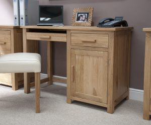 Homestyle Opus Solid Oak Small Computer Desk | Fully Assembled