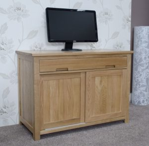 Homestyle Opus Solid Oak Hideaway Computer Desk | Fully Assembled