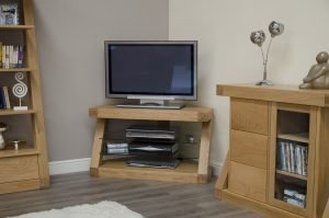 Homestyle Z Solid Oak Corner TV Unit |Fully Assembled