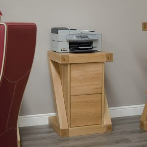 Homestyle Z Solid Oak 2 Drawer Filing Cabinet | Fully Assembled
