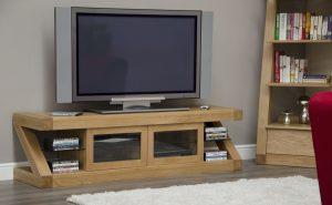 Homestyle Z Solid Oak Glazed Plasma TV Unit with 2 Doors | Fully Assembled