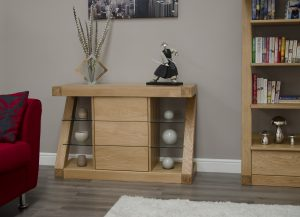 Homestyle Z Solid Oak Small Sideboard with 3 Drawers | Fully Assembled