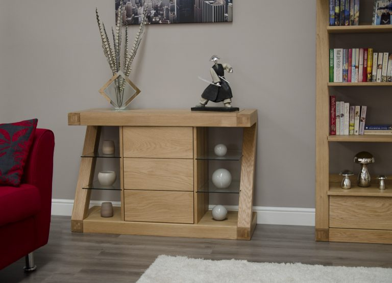 Homestyle Z Solid Oak Small Sideboard with 3 Drawers   Fully Assembled