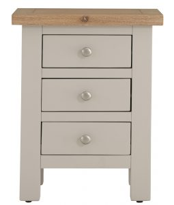 Besp-Oak Vancouver Compact Grey 3 Drawer Bedside Cabinet | Fully Assembled