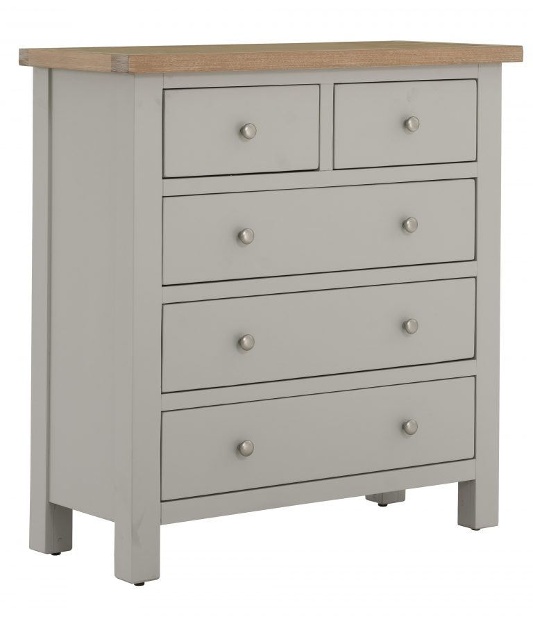 Besp-Oak Vancouver Compact Grey 2 over 3 Drawer Chest | Fully Assembled