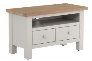 Besp-Oak Vancouver Compact Grey TV Unit with 2 Drawer | Fully Assembled