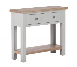 Besp-Oak Vancouver Compact Grey Console Hall Table with 2 Drawers