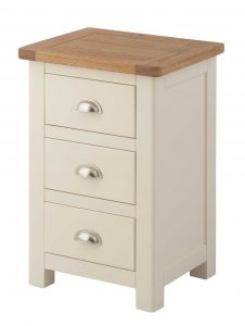 Classic Portland Painted Cream 3 Drawer Bedside Cabinet