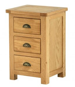 Classic Portland Oak 3 Drawer Bedside Cabinet
