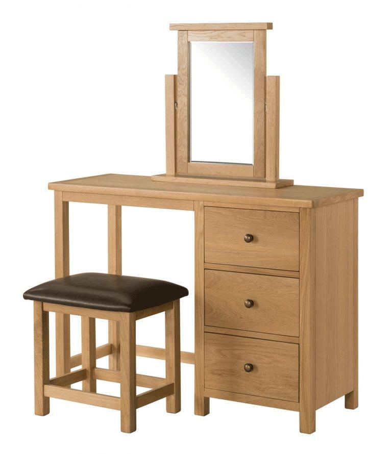 Devonshire Burford Oak Dressing Table, Stool and Mirror