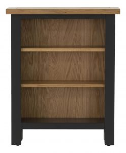 Besp-Oak Vancouver Compact Black Grey Low Bookcase with 3 Adjustable Shelves | Fully Assembled