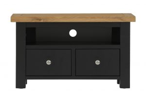 Besp-Oak Vancouver Compact Black Grey TV Unit with 2 Drawer | Fully Assembled
