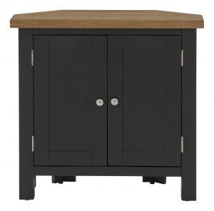 Besp-Oak Vancouver Compact Black Grey Corner Cupboard 2 Doors | Fully Assembled