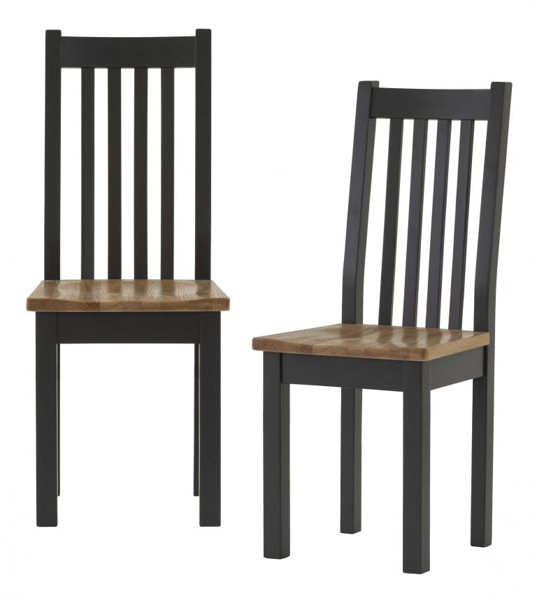 Besp-Oak Vancouver Compact Black Grey Dining Chair with Timber seat (Pair)   Fully Assembled