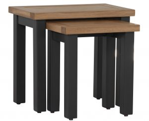 Besp-Oak Vancouver Compact Black Grey Nest of 2 Tables | Fully Assembled