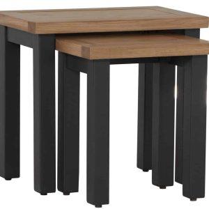 Besp-Oak Vancouver Chalked Oak & Light Grey Nest of 3 Tables | Fully Assembled