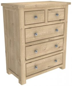 Bretagne Oak 2 over 3 Drawer Chest | Fully Assembled