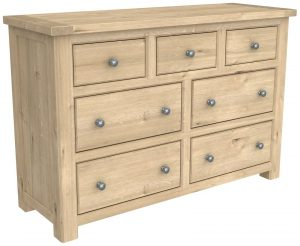 Bretagne Oak 7 Drawer Wide Chest | Fully Assembled