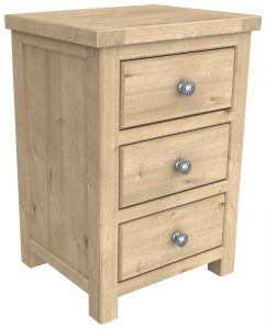 Bretagne Oak 3 Drawer Bedside Cabinet | Fully Assembled